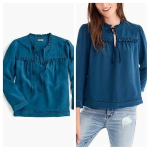 J. Crew Point Sur Silk Ruffle Popover Blouse S
